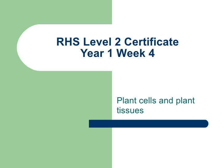 RHS Level 2 Certificate Year 1 Week 4 Plant cells and plant tissues