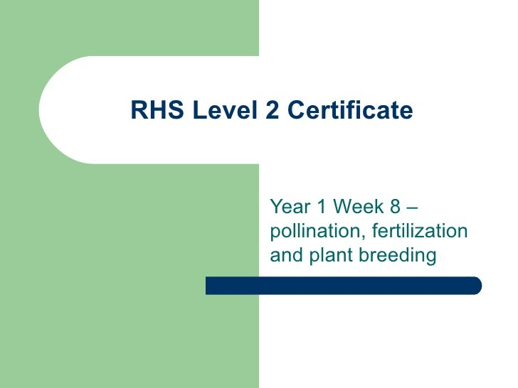 RHS Level 2 Certificate Year 1 Week 8 – pollination, fertilization and plant breeding