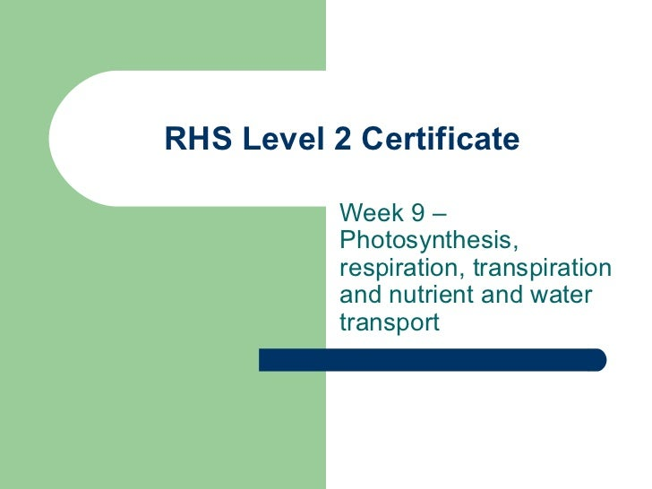 RHS Level 2 Certificate Week 9 –Photosynthesis, respiration, transpiration and nutrient and water transport