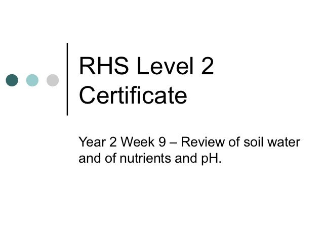 RHS Level 2CertificateYear 2 Week 9 – Review of soil waterand of nutrients and pH.