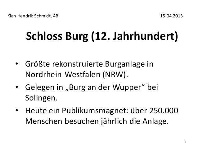"""Schloss Burg (12. Jahrhundert) • Größte rekonstruierte Burganlage in Nordrhein-Westfalen (NRW). • Gelegen in """"Burg an der ..."""