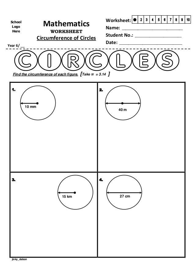 Year 6 u2013 Circumference of Circles (Worksheet)