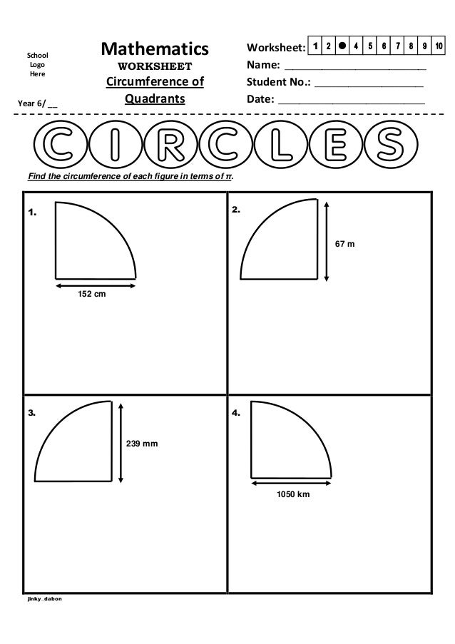 Year 6 Circumference of Quadrants Worksheet – Area of a Circle Worksheet