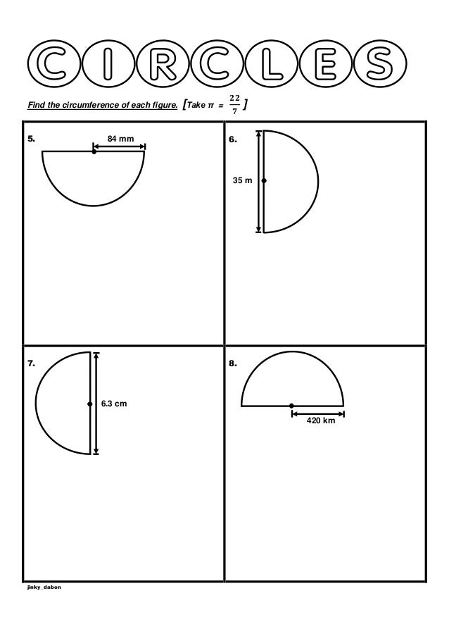 Year 6 Circumference of Semicircles Worksheet – Area and Circumference Worksheet