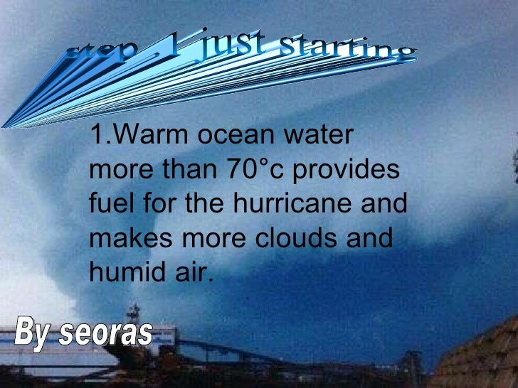 1.Warm ocean water more than 70 ° c provides fuel for the hurricane and makes more clouds and humid air. step .1 just star...