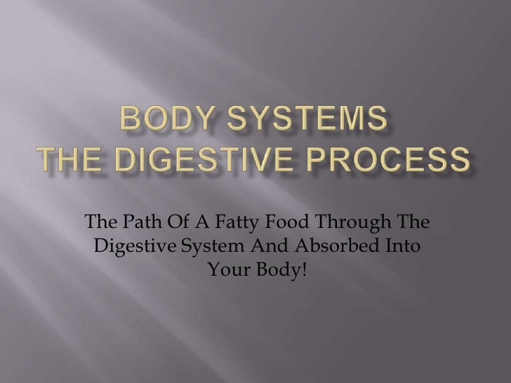BODY SYSTEMSThe DIGESTIVE process<br />The Path Of AFatty Food Through The Digestive System And Absorbed Into Your Body! <...