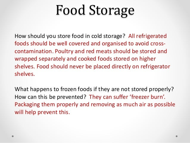 Environmental Conditions When Storing Food