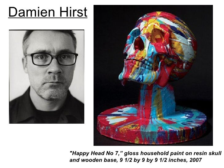 """Damien Hirst         """"Happy Head No 7,"""" gloss household paint on resin skull         and wooden base, 9 1/2 by 9 by 9 1/2 ..."""