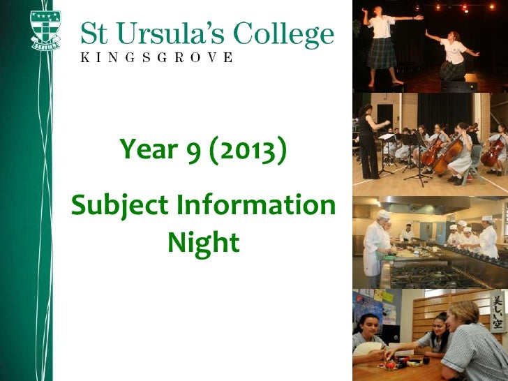 Year 9 (2013)Subject Information       Night
