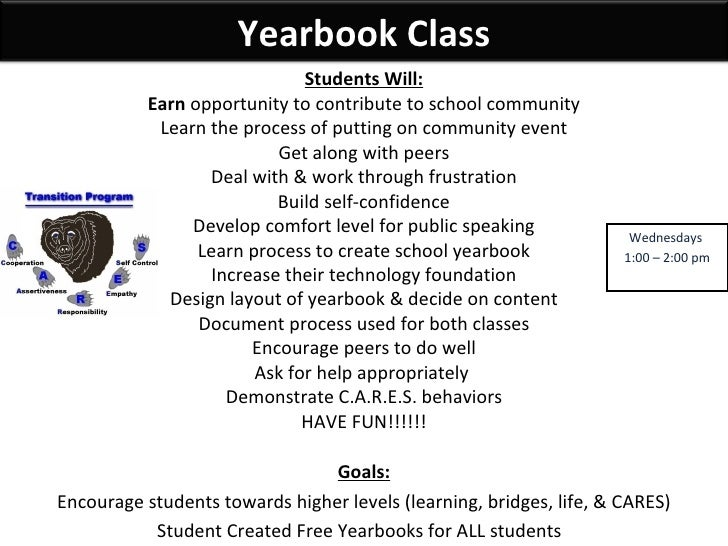 Wednesdays  1:00 – 2:00 pm Students Will: Earn  opportunity to contribute to school community Learn the process of putting...