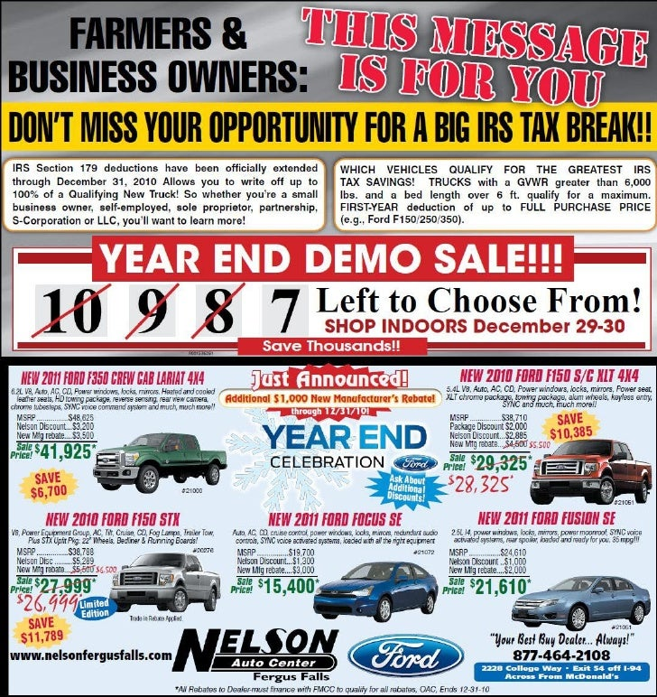 Year End Demo Sale - Nelson Auto Center Fergus Falls MN