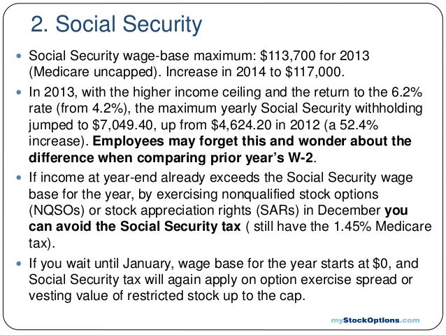 Stock options and social security