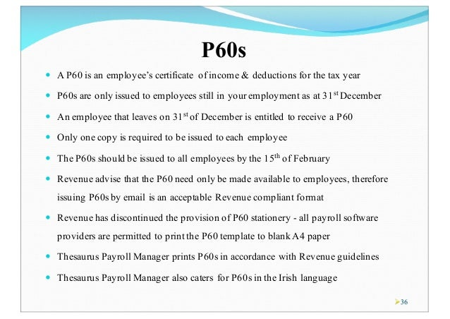 Copy Of P60 >> Year End Process - Thesaurus Payroll Manager