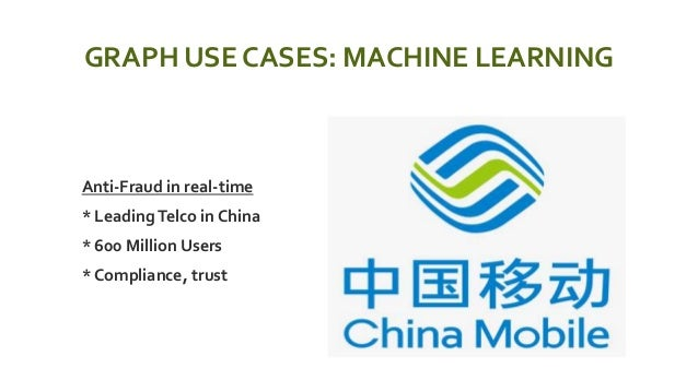 GRAPH USE CASES: MACHINE LEARNING  Anti-Fraud in real-time  * LeadingTelco in China  * 600 Million Users  * Compliance...