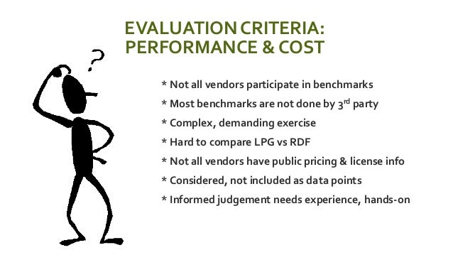 EVALUATION CRITERIA: PERFORMANCE & COST  * Not all vendors participate in benchmarks  * Most benchmarks are not done by ...
