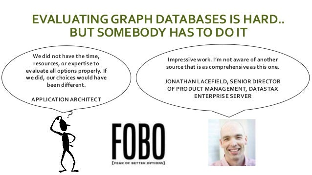 EVALUATING GRAPH DATABASES IS HARD.. BUT SOMEBODY HASTO DO IT Impressive work. I'm not aware of another source that is as ...
