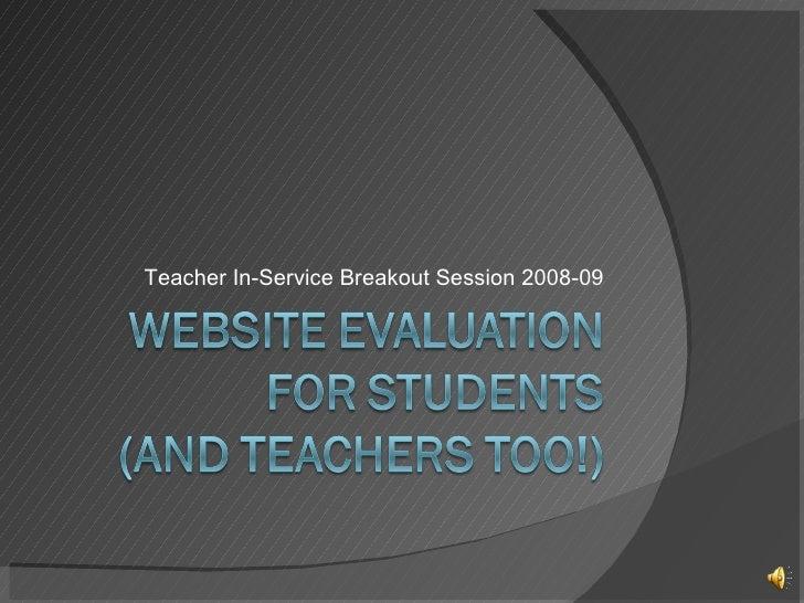 Teacher In-Service Breakout Session 2008-09