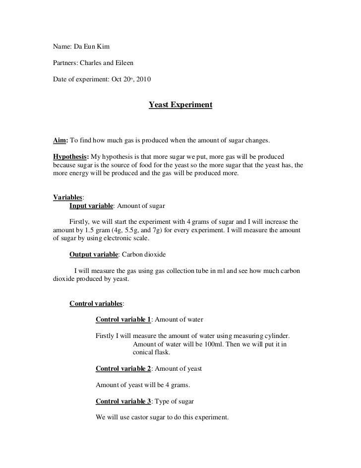 Yeast fermentation lab hypothesis