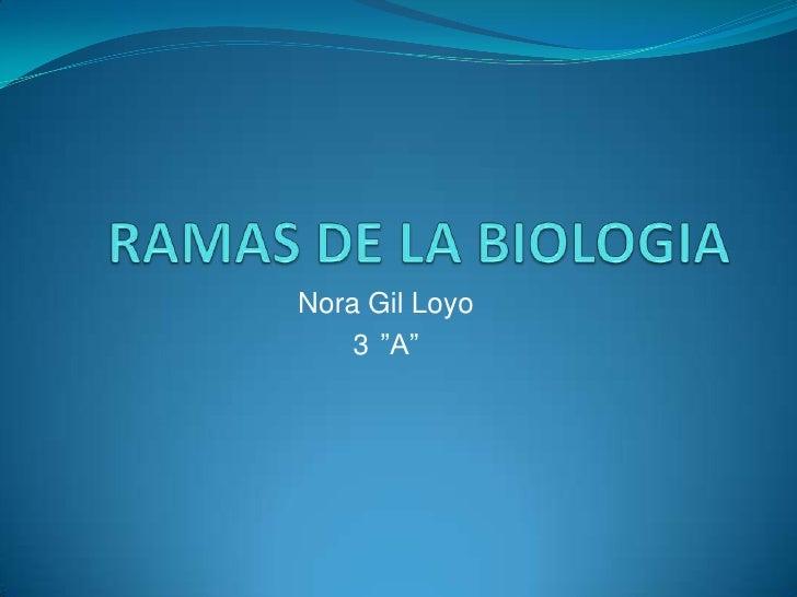 """RAMAS DE LA BIOLOGIA<br />Nora Gil Loyo<br />3°""""A""""<br />"""