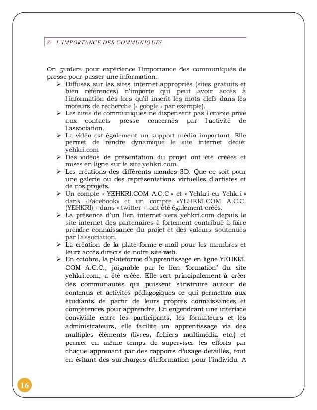 8- L'IMPORTANCE DES COMMUNIQUES     On gardera pour expérience limportance des communiqués de     presse pour passer une i...