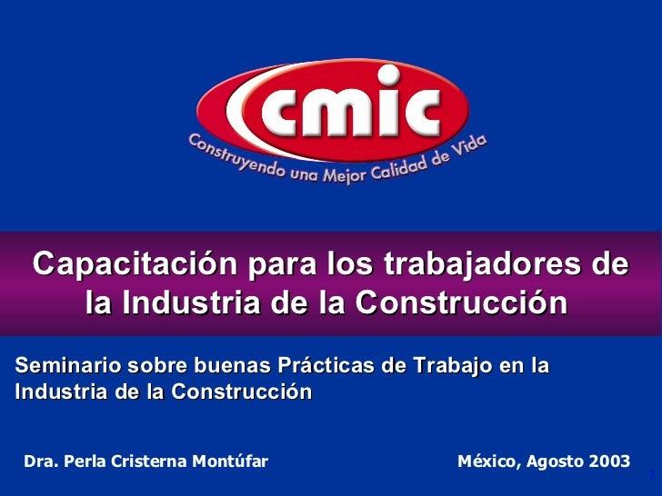 Dra. Perla Cristerna Montúfar  México, Agosto 2003 Capacitación para los trabajadores de la Industria de la Construcción  ...