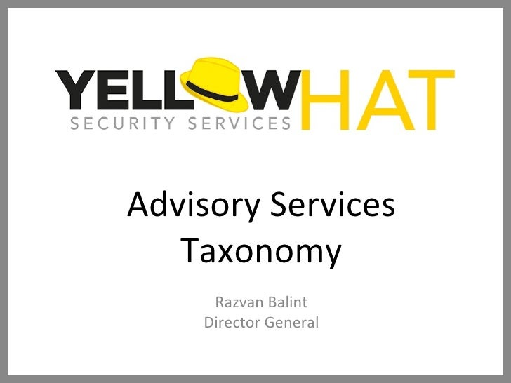 Advisory Services Taxonomy Razvan Balint Director General