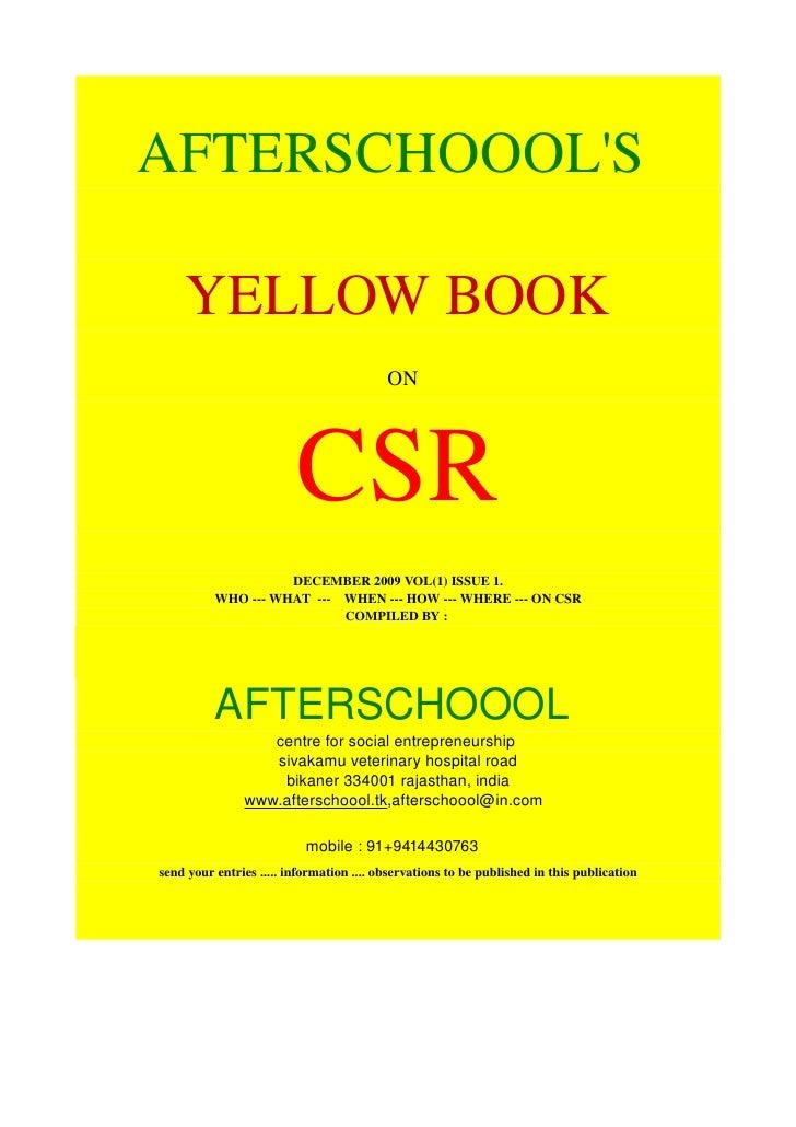 AFTERSCHOOOL'S      YELLOWBOOK                                          ON                              CSR           ...