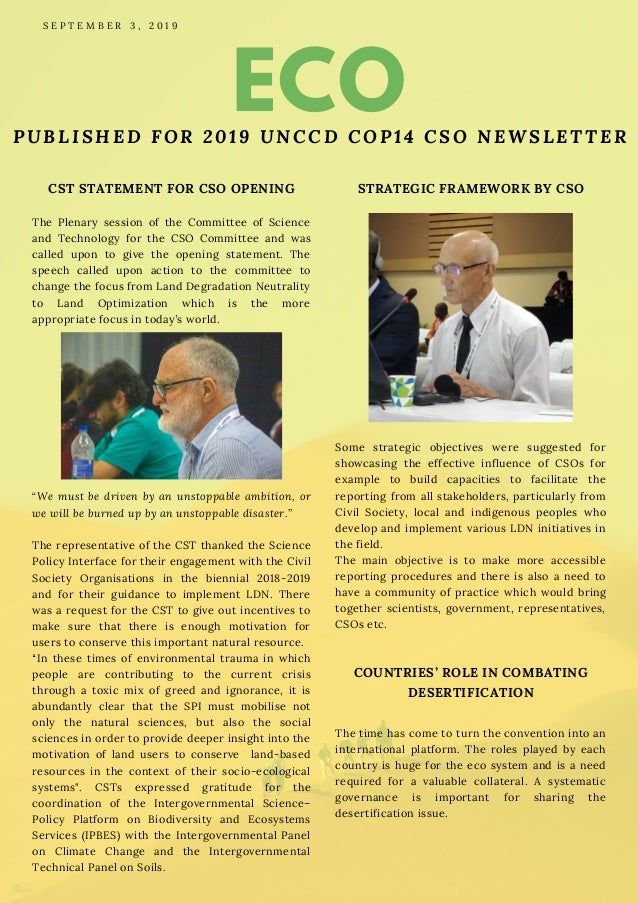 ECOPUBLISHED FOR 2019 UNCCD COP14 CSO NEWSLETTER CST STATEMENT FOR CSO OPENING The Plenary session of the Committee of Sci...