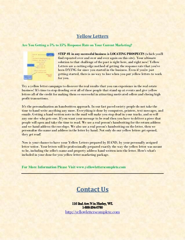 Yellow Letters Complete : Real Estate Investor Marketing
