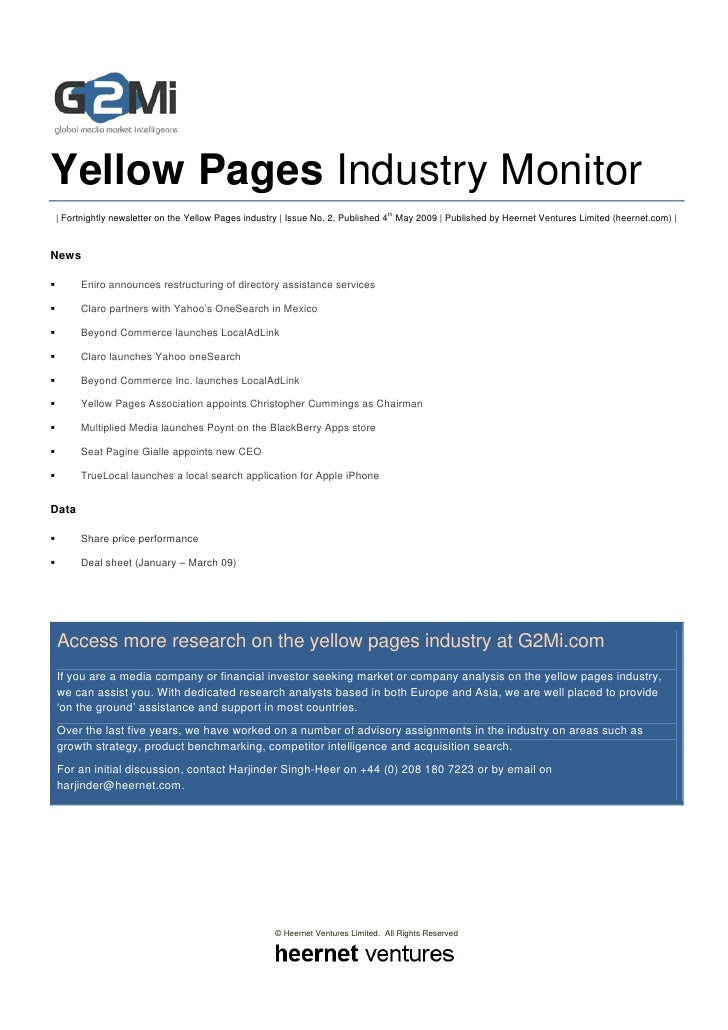 Yellow Pages Industry Monitor                                                                                    th     | ...