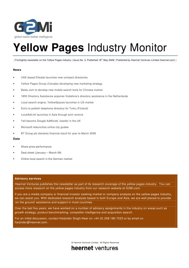 Yellow Pages Industry Monitor                                                                                 th | Fortnig...