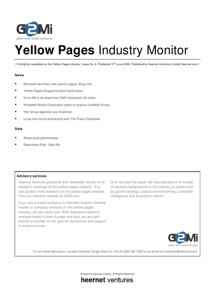 Yellow Pages Industry Monitor | Fortnightly newsletter on the Yellow Pages industry | Issue No. 5, Published 15th June 200...