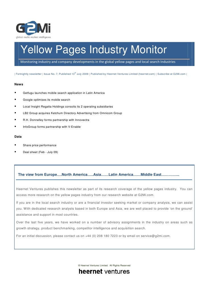 Yellow Pages Industry Monitor      Monitoring industry and company developments in the global yellow pages and local searc...