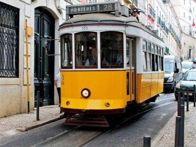 Yellow trams in lisbon, portugal (v.m.)