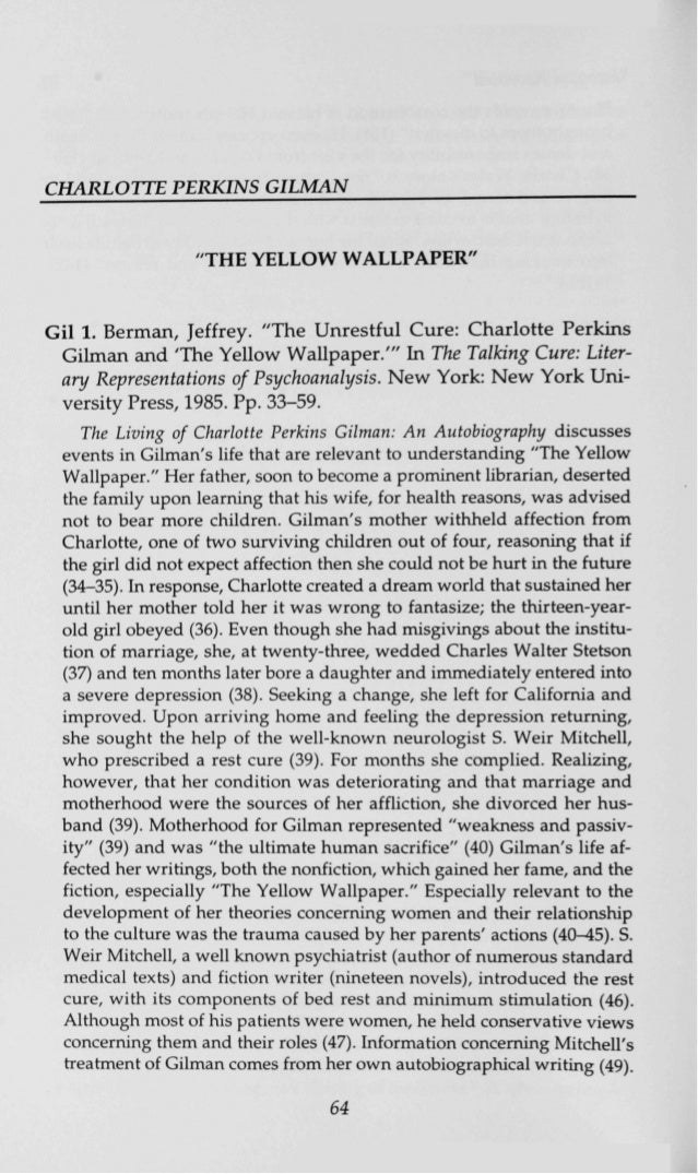 yellow criticism charlotte perkins gilman the yellow gil 1 berman jeffrey