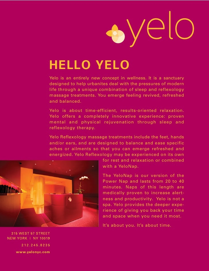 HELLO YELO Yelo is an entirely new concept in wellness. It is a sanctuary designed to help urbanites deal with the pressur...