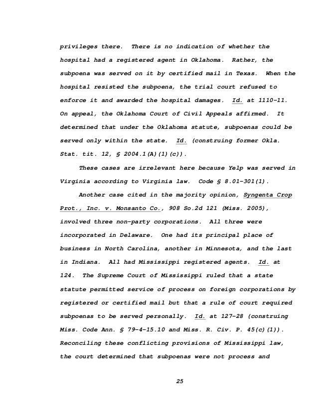Yelp V Hadeed Virginia Supreme Court Opinion
