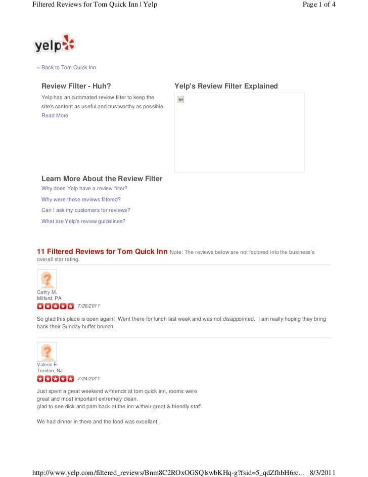 Filtered Reviews for Tom Quick Inn | Yelp                                                                         Page 1 o...