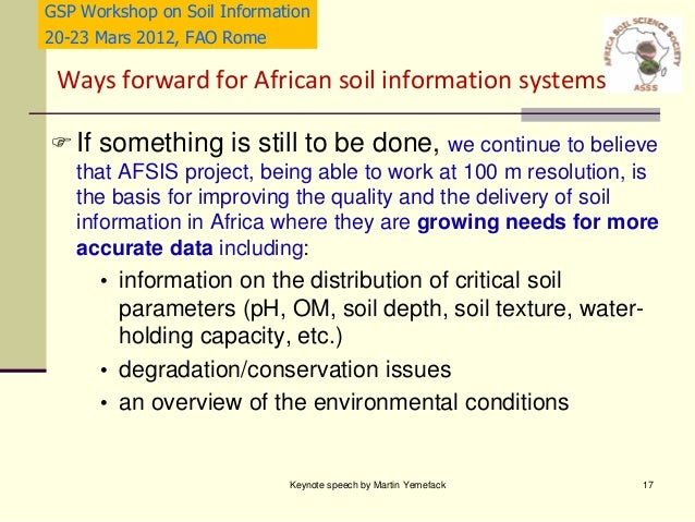 Status and needs of soil information in africa martin for Soil quality parameters