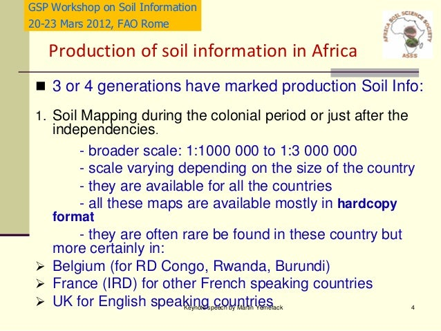 status and needs of soil information in africa martin