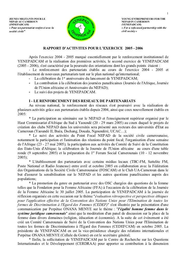 1JEUNES MILITANTS POUR LE                                                     YOUNG ENTREPRENEURS FOR THENEPAD AU CAMEROUN...