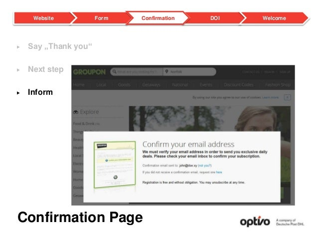 """Confirmation Page  Say """"Thank you""""  Next step  Inform DOI WelcomeWebsite Form Confirmation"""