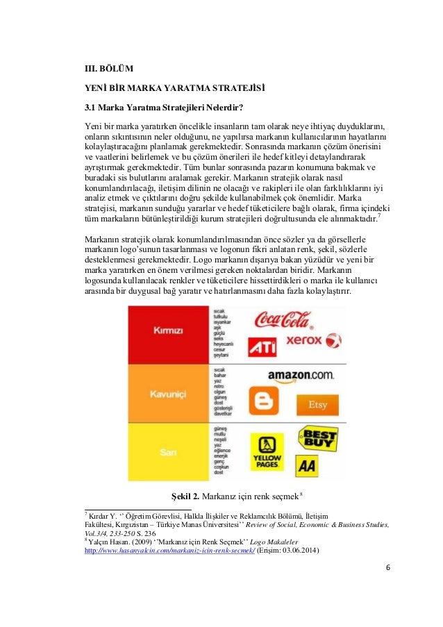 6  III. BÖLÜM  YENİ BİR MARKA YARATMA STRATEJİSİ  3.1 Marka Yaratma Stratejileri Nelerdir?  Yeni bir marka yaratırken önce...