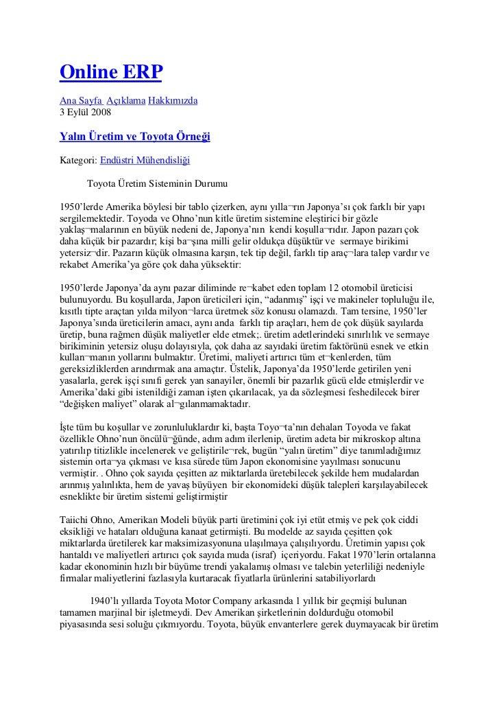 Online ERP <br />Ana Sayfa Açıklama Hakkımızda <br />3 Eylül 2008 <br />Yalın Üretim ve Toyota Örneği <br />Kategori: End...