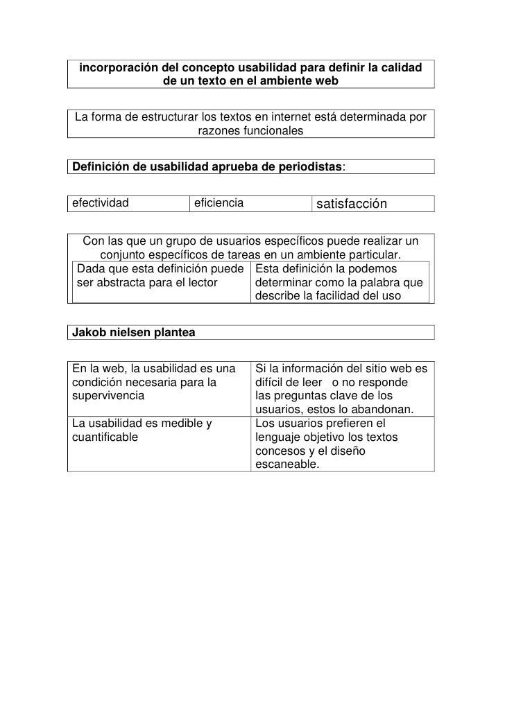 incorporación del concepto usabilidad para definir la calidad de un texto en el ambiente web<br />La forma de estructurar ...