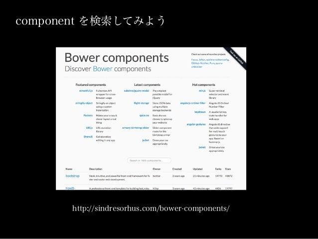 bower install underscore.number --save grunt bowerInstall bower install したライブラリを依存ライブラリとともに webページに追加してくれる webappでのJSライブラリ...