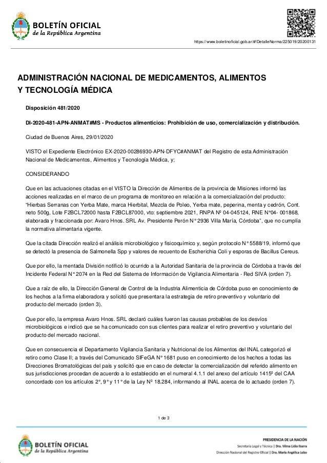 https://www.boletinoficial.gob.ar/#!DetalleNorma/225019/20200131 1 de 3 ADMINISTRACIÓN NACIONAL DE MEDICAMENTOS, ALIMENTOS...