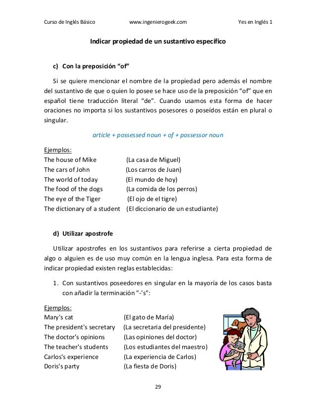 Curso de Inglés Básico www.ingenierogeek.com Yes en Inglés 1 29 Indicar propiedad de un sustantivo específico c) Con la pr...