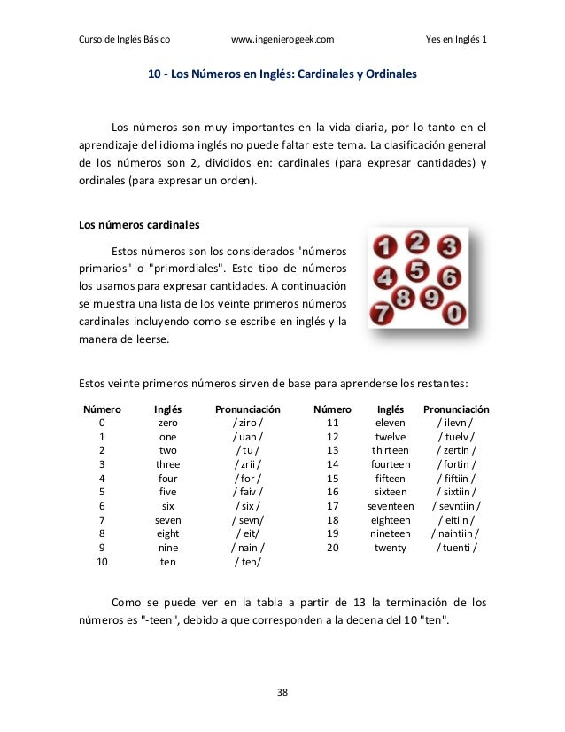 Curso de Inglés Básico www.ingenierogeek.com Yes en Inglés 1 38 10 - Los Números en Inglés: Cardinales y Ordinales Los núm...