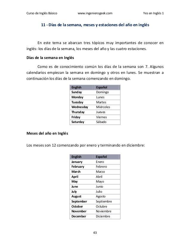 Curso de Inglés Básico www.ingenierogeek.com Yes en Inglés 1 43 11 - Días de la semana, meses y estaciones del año en ingl...